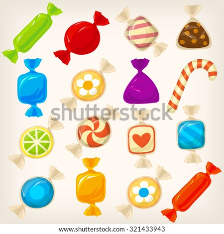 Set of sweet colorful caramel hard candies with different shapes and patterns in transparent wrapping paper - stock vector