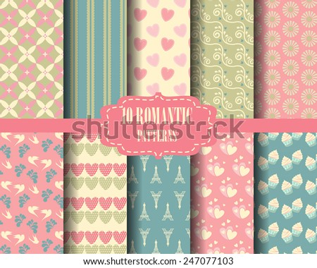 set of sweet seamless pattern, vintage design for valentines day, Pattern Swatches, vector, Endless texture can be used for wallpaper, pattern fills, web page,background,surface - stock vector