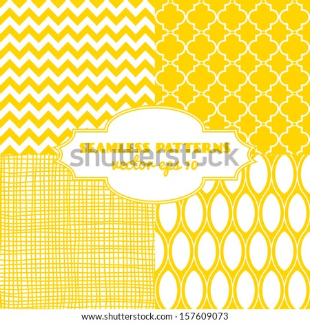 Set of sweet seamless vector patterns in sunny yellow color. Vector eps 10 - stock vector