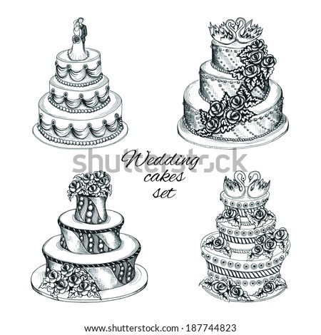 Set of sweet wedding celebration cakes with decoration flower garland swans and couple isolated vector illustration - stock vector