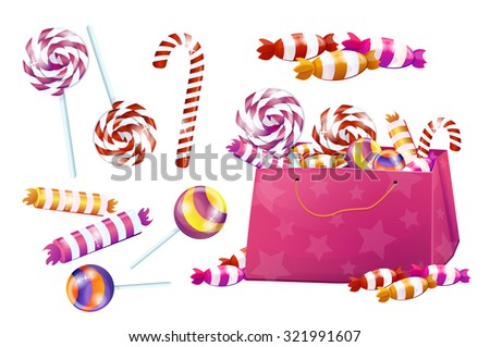 Set of sweets. candy, lollipops, candy, chocolate. Big set, pink, bright, brilliant. Without the background, on a white background. - stock vector