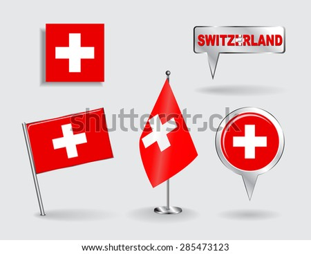 Set of Swiss pin, icon and map pointer flags. Vector illustration. - stock vector