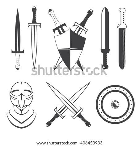 Set of swords, shield and helmet. Vector illustration. - stock vector