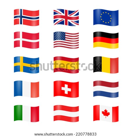 Set of swung country flags - stock vector