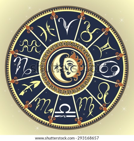 Set of Symbol Zodiac Sign. Zodiac icons.The Horoscope circle with Zodiac signs .Inside the symbol of the sun and moon - stock vector