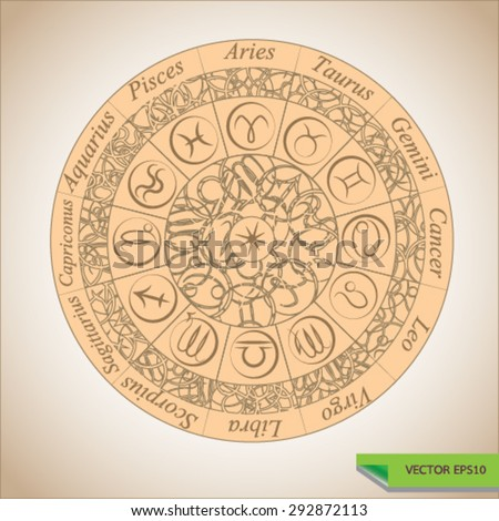 Set of 12 Symbol Zodiac Sign.  Zodiac wheel - stock vector