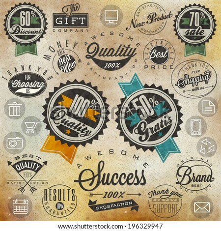 Set of symbols for Best Quality, Original Brand, New Product, Money Back. Thank you for choosing us, for your support, for shopping with us. Retro vintage style, hand lettering  - stock vector