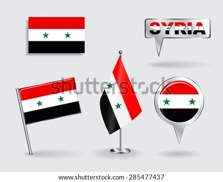 Set of Syrian pin, icon and map pointer flags. Vector illustration. - stock vector