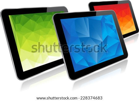 Set of tablet computers isolated on white background - stock vector