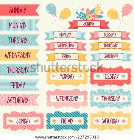 Set of tags and banners with the days of the week. - stock vector