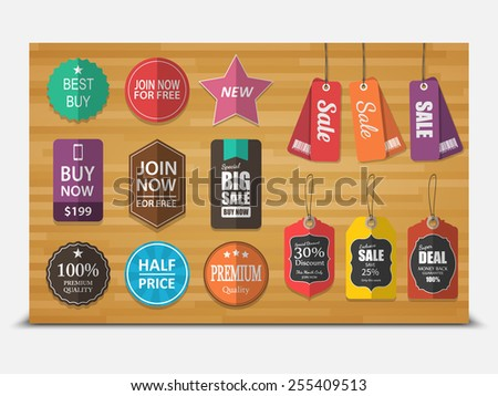 Set of tags for sale,vector - stock vector