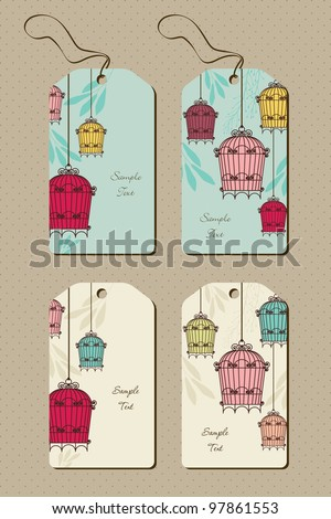 set of tags with vintage birdcages - stock vector