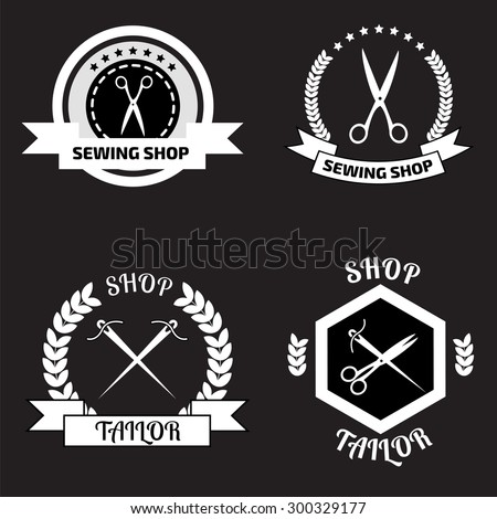 Set of tailor logo labels, emblems.  Tailor shop logo - stock vector