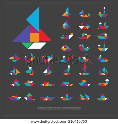 Set of tangram ships- vector illustration - stock vector