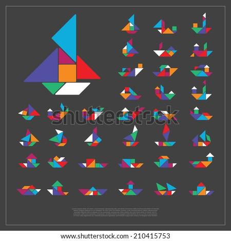 Set of tangram ships- vector illustration - stock vector