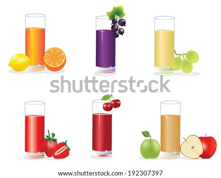 Set of tasty fresh squeezed juices. - stock vector