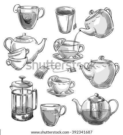 Set of tea cups and teapots. Vector sketch.  - stock vector