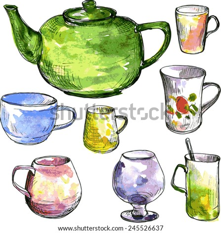 set of  teacups and teapot drawing by ink and watercolor, hand drawn vector illustration - stock vector