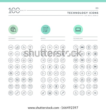 Set of technology icons for web and mobile. Icons for internet, media and technology.     - stock vector