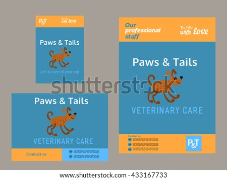 Set of templates. Brochure and flyer template. Advertising poster, newsletter, leaflet. Pet care concept. Veterinary care service. Veterinary clinic headliner. Home animals care. Vector illustration. - stock vector