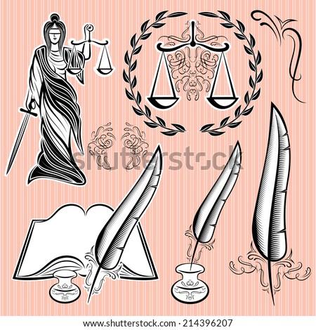 set of templates design elements for law - stock vector