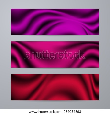 Set of templates for design of banners, covers, posters, web pages in modern graphic style. Abstract drapery texture backgrounds. Vector illustration EPS10. - stock vector