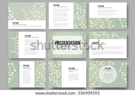 Set of 9 templates for presentation slides. Microchip backgrounds, electrical circuits backdrops. Business patterns, science vector design. - stock vector