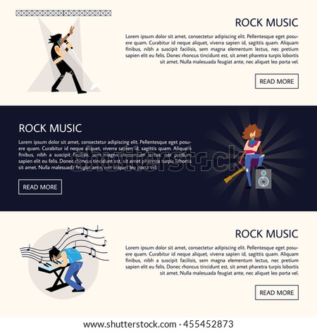 Set of templates of banners with rock musicians playing different instruments with space for text vector illustration. Lets rock. Rock musician. Rock star man. Concept design of rock and roll music. - stock vector