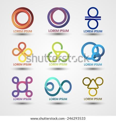 Set of templates striped logos. Vector EPS 10 - stock vector