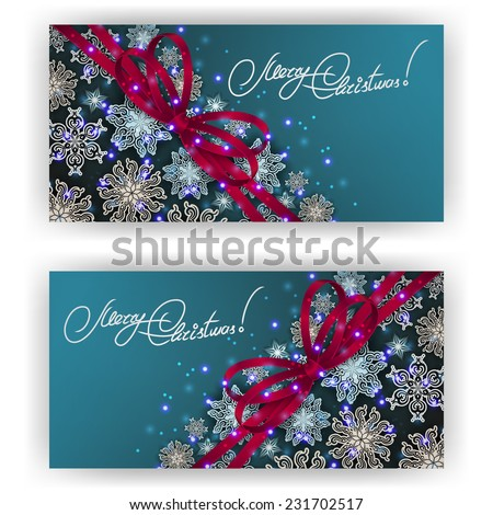 Set of templates with paper snowflakes, shiny stars, ribbon, bow for New Year's greeting card, invitation, congratulation. Christmas festive background. Vector illustration EPS10.  - stock vector