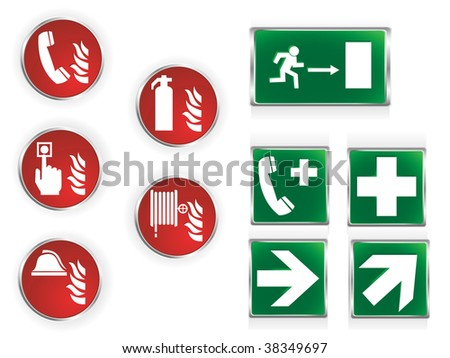 Set of ten commonly used emergency symbols. - stock vector