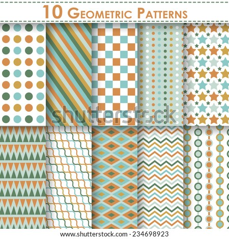 Set of ten geometric vector seamless patterns. Endless texture can be used for web design, printing onto fabric and paper or scrapbooking. Swatches included - stock vector