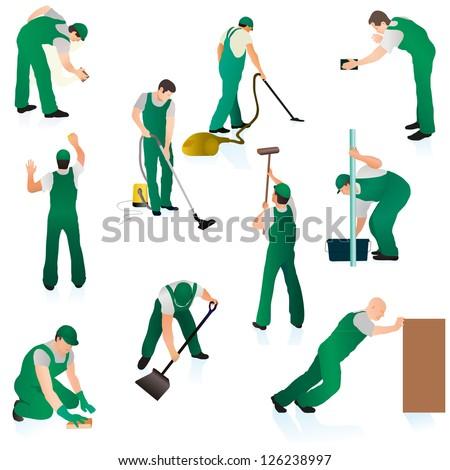 Set of ten professional cleaners in green uniform - stock vector