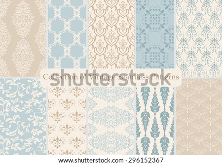 Set of ten seamless damask patterns. Classic blue and beige wallpapers. Vintage vector backgrounds. - stock vector