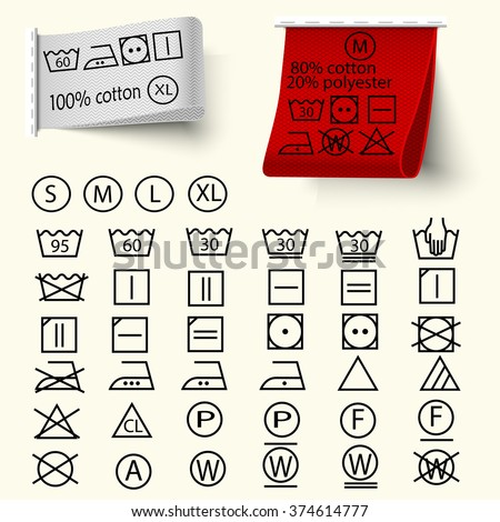 Set of textile care sign, laundry care icons, thin line design, textile labels with tissue structure red and white, vector - stock vector