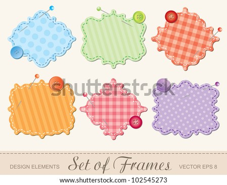 set of textile frames, scrapbook design elements - stock vector