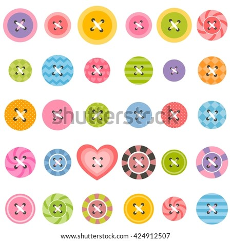set of textured sewing buttons - stock vector