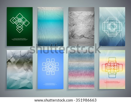 Set of Textured Vintage Paper Backgrounds. Logos. Design Retro Templates Collection for Flyers, Banners and Posters - stock vector