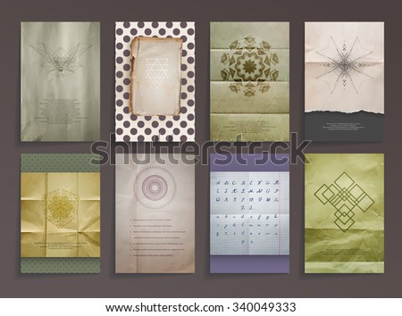 Set of Textured Vintage Paper Backgrounds. Logos. Vector Design Retro Templates Collection for Flyers, Banners and Posters. Alphabet Handwriting ink - stock vector