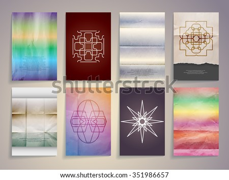 Set of Textured Vintage Paper Backgrounds. Logos. Vector Design Retro Templates Collection for Flyers, Banners and Posters - stock vector