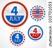Set of 4th July labels or medals with ribbons. Vector illustration - stock vector