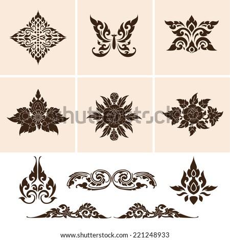 Set of Thai art culture vector,Thai traditional ornament. - stock vector