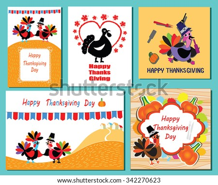 Set of Thanksgiving Day greeting card with turkeys and greeting text. Collection of 5 Thanksgivings posters,banners, flyers, prints. Funny Turkey birds, flags, maple leaf, pumpkins, color splashes. - stock vector