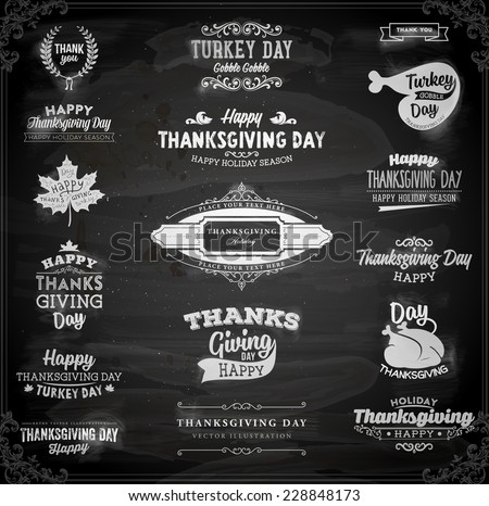 Set of Thanksgiving Day Labels. Holiday Designs. Vintage Paper Background. Chalkboard Style. - stock vector