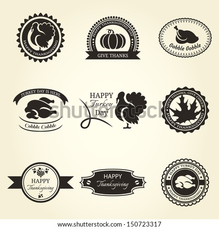 Set of Thanksgiving label isolated on beige background - stock vector