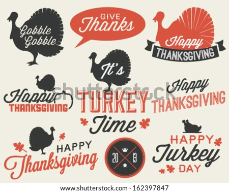 Set of Thanksgiving Vector Calligraphic Illustrations in Vintage style - stock vector