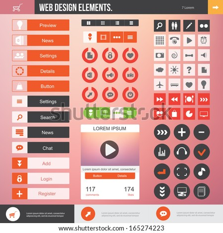 Set of the buttons and icons on stylish background. Flat Web Design elements for website. - stock vector