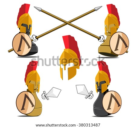 set of the chessmen represented in the kind of the Spartans. abstract vector illustration - stock vector