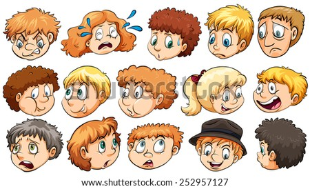 Set of the different facial expressions on a white background - stock vector