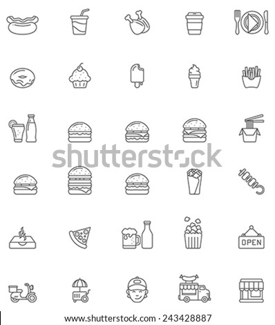 Set of the fast food related icons - stock vector